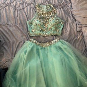 mint blue cropped short dress